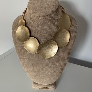 Gold Overlapping Metal Disc Statement Necklace